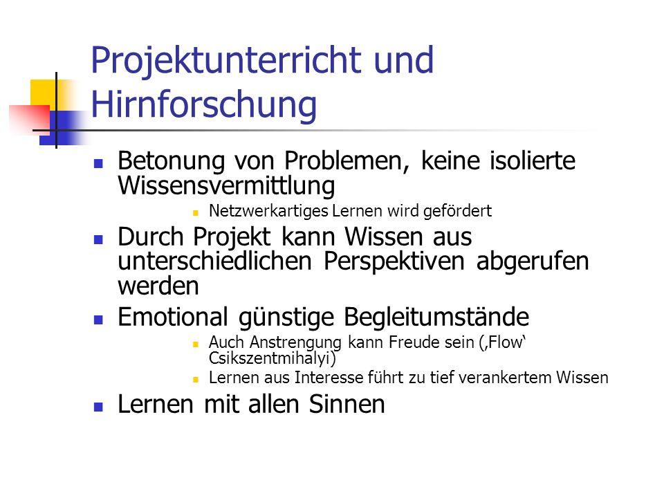 Projektunterricht und Hirnforschung