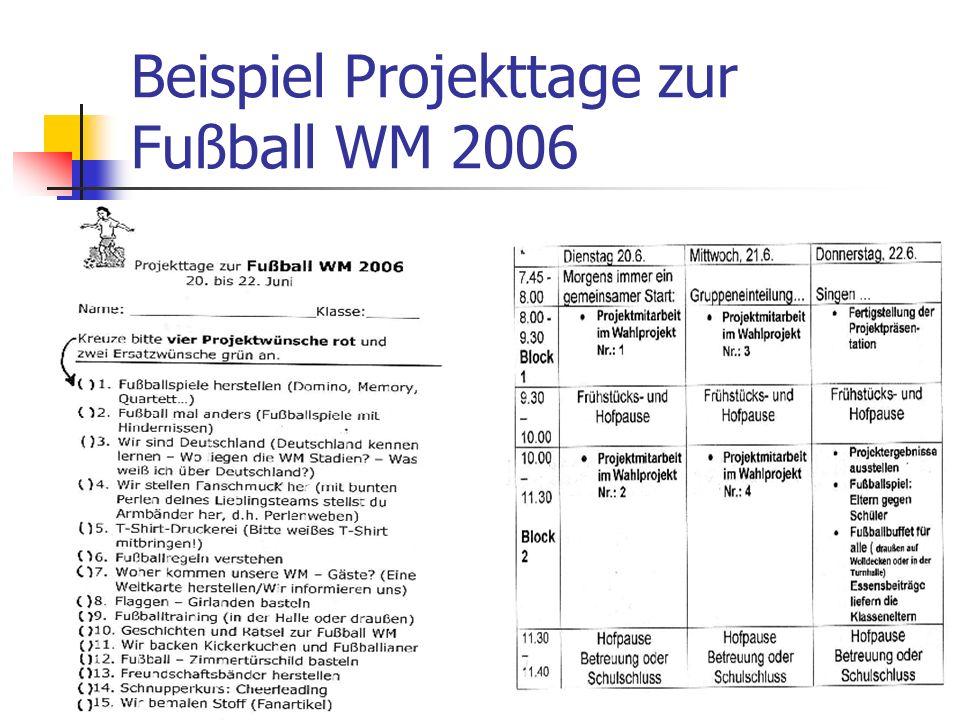 Beispiel Projekttage zur Fußball WM 2006