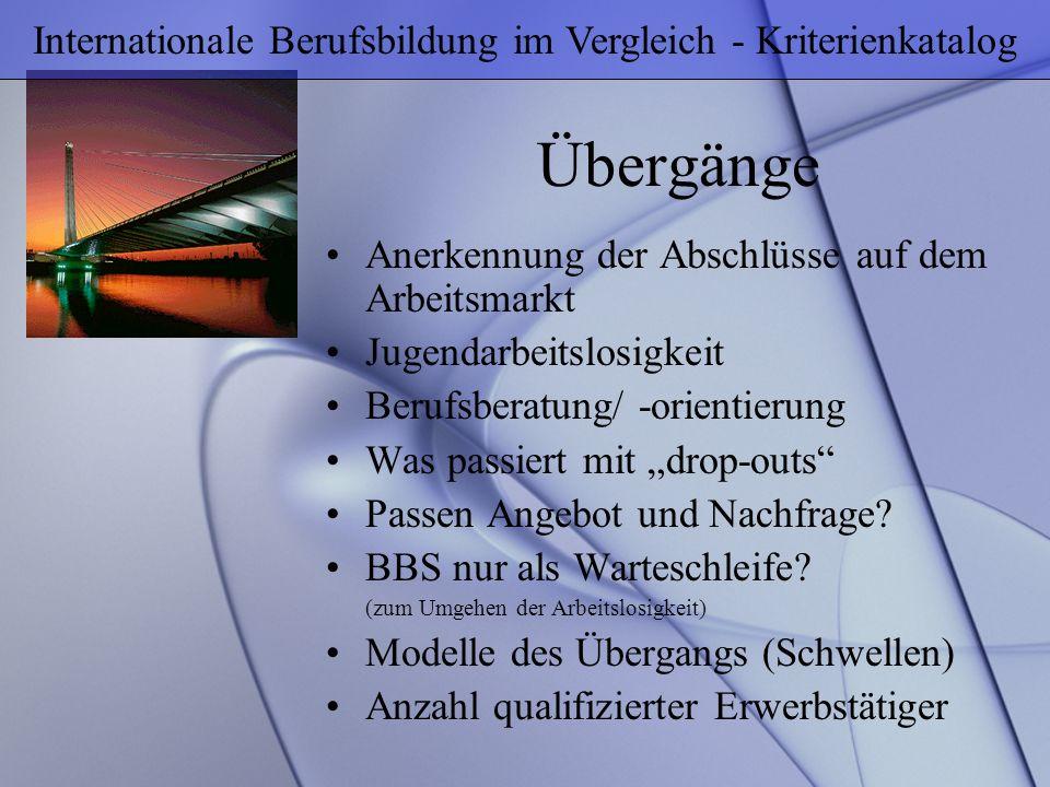 Internationale Berufsbildung im Vergleich - Kriterienkatalog
