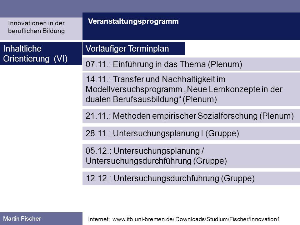 Inhaltliche Orientierung (VI) Vorläufiger Terminplan
