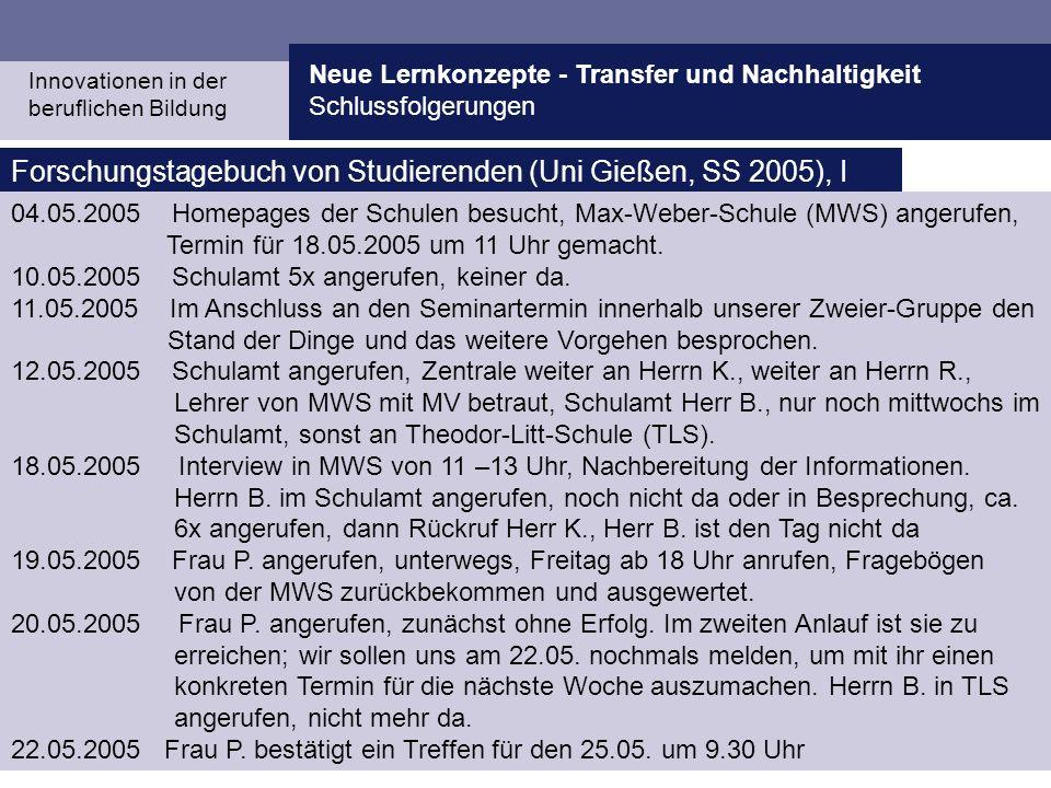 Forschungstagebuch von Studierenden (Uni Gießen, SS 2005), I