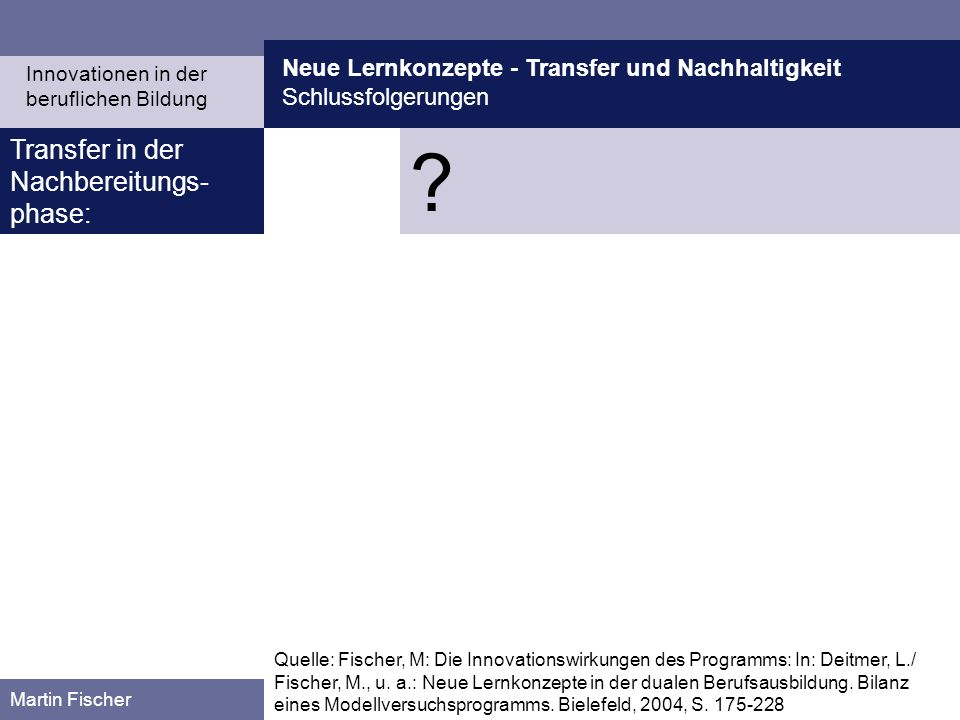 Transfer in der Nachbereitungs-phase: