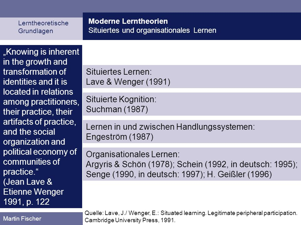 (Jean Lave & Etienne Wenger 1991, p. 122