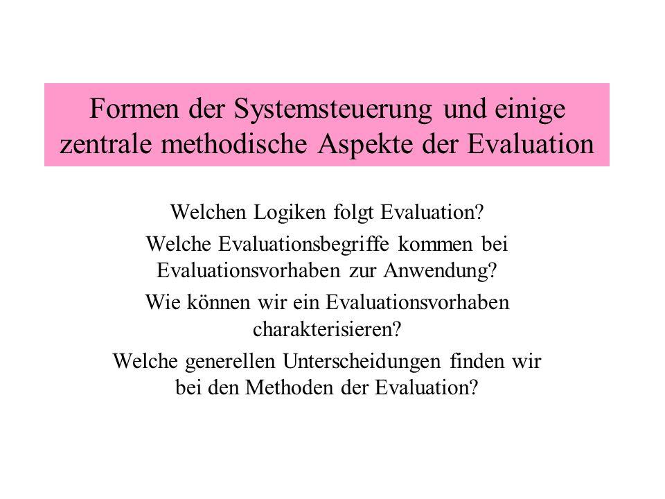 Formen der Systemsteuerung und einige zentrale methodische Aspekte der Evaluation
