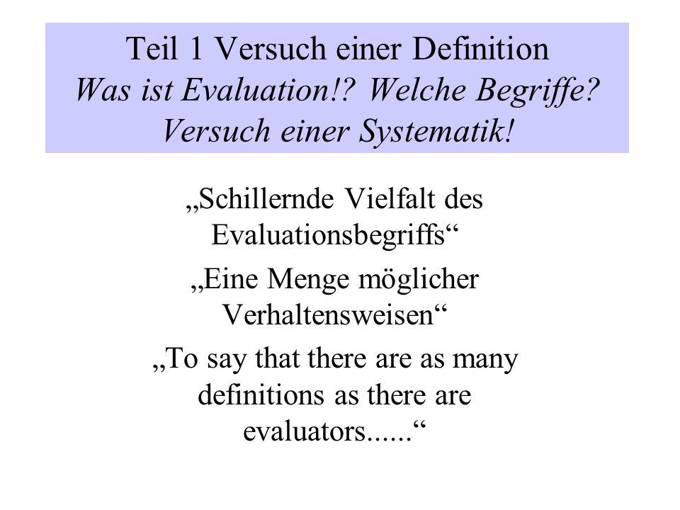 Teil 1 Versuch einer Definition Was ist Evaluation. Welche Begriffe