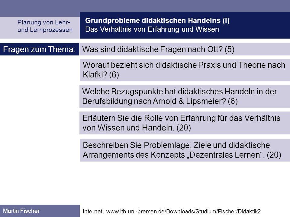 Was sind didaktische Fragen nach Ott (5)