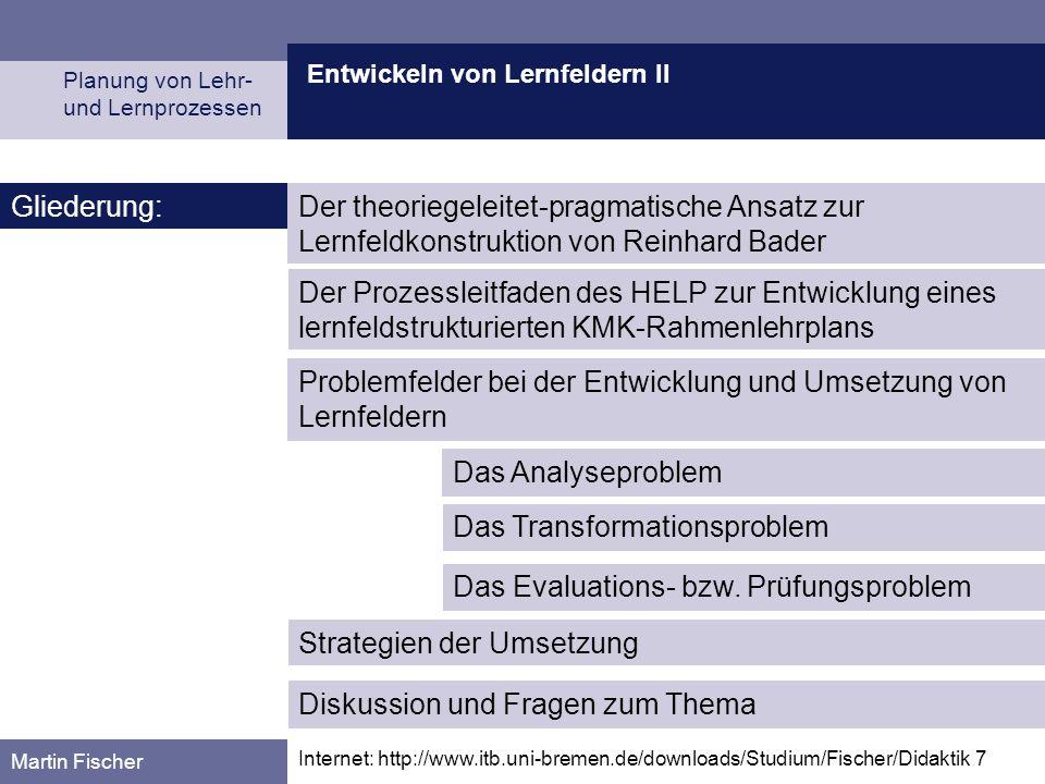 Problemfelder bei der Entwicklung und Umsetzung von Lernfeldern