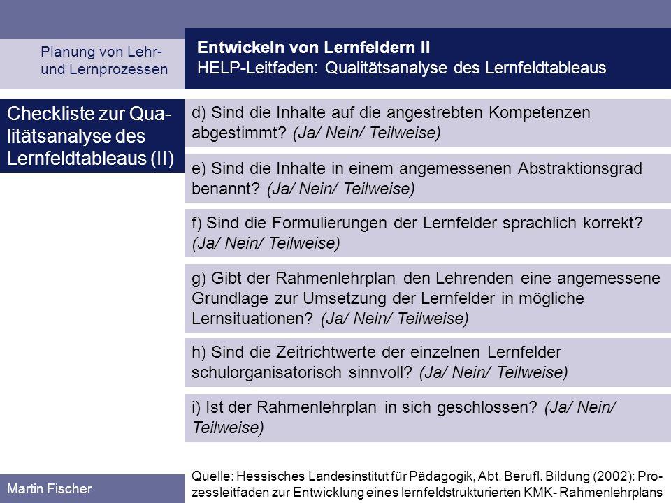Checkliste zur Qua-litätsanalyse des Lernfeldtableaus (II)