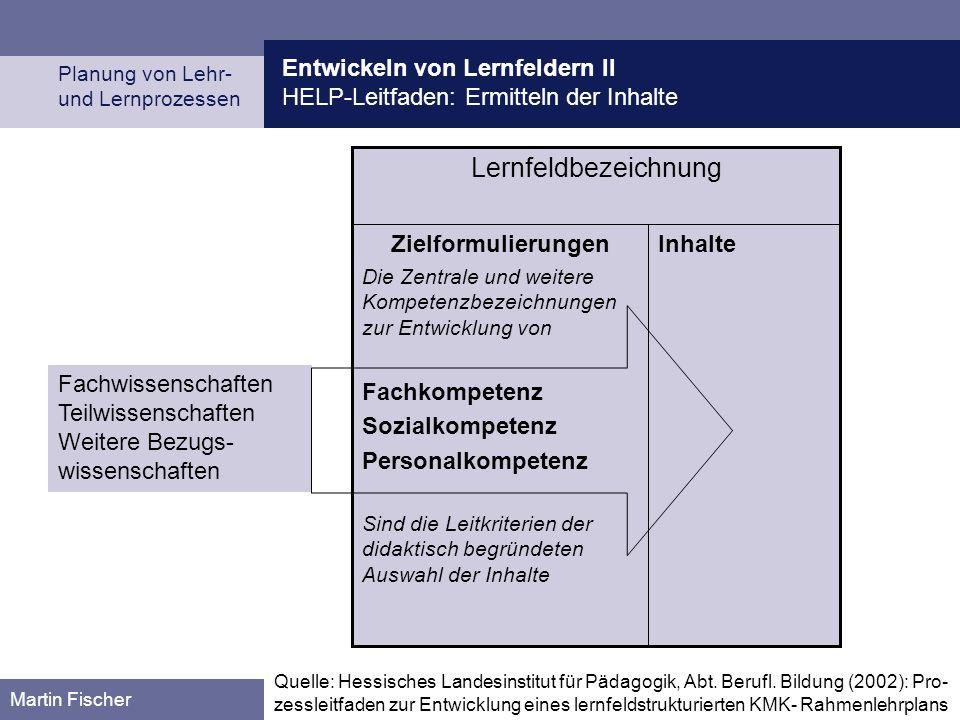 Lernfeldbezeichnung Entwickeln von Lernfeldern II