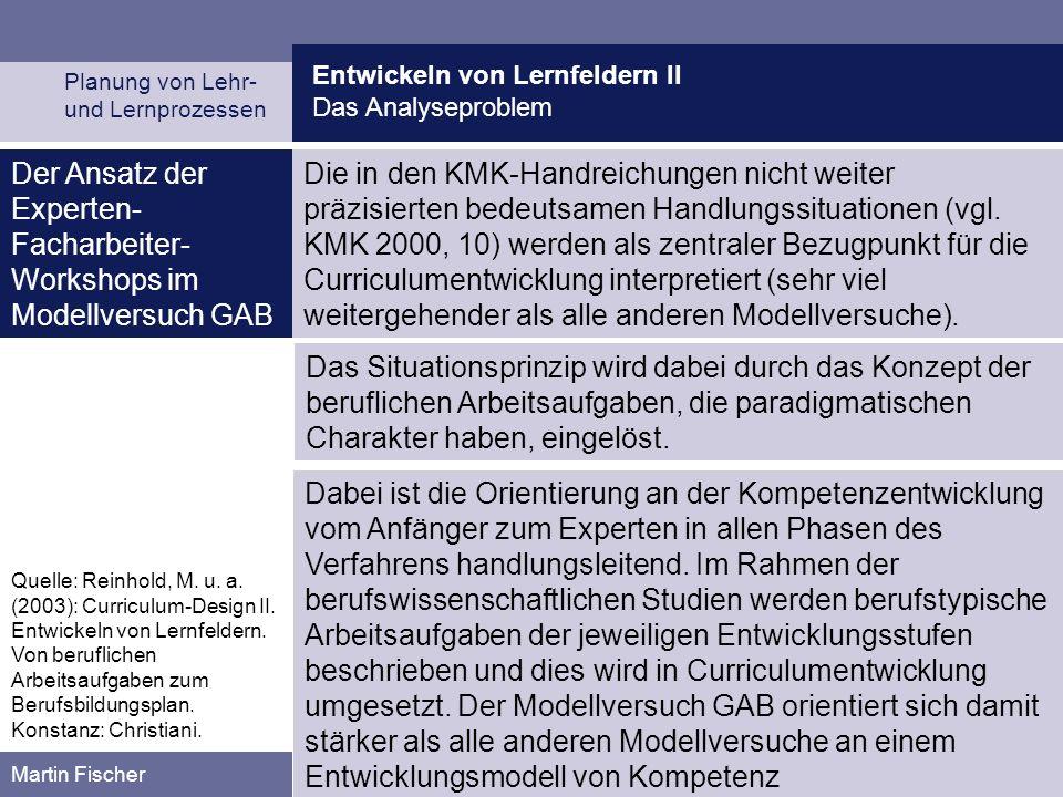 Der Ansatz der Experten-Facharbeiter-Workshops im Modellversuch GAB