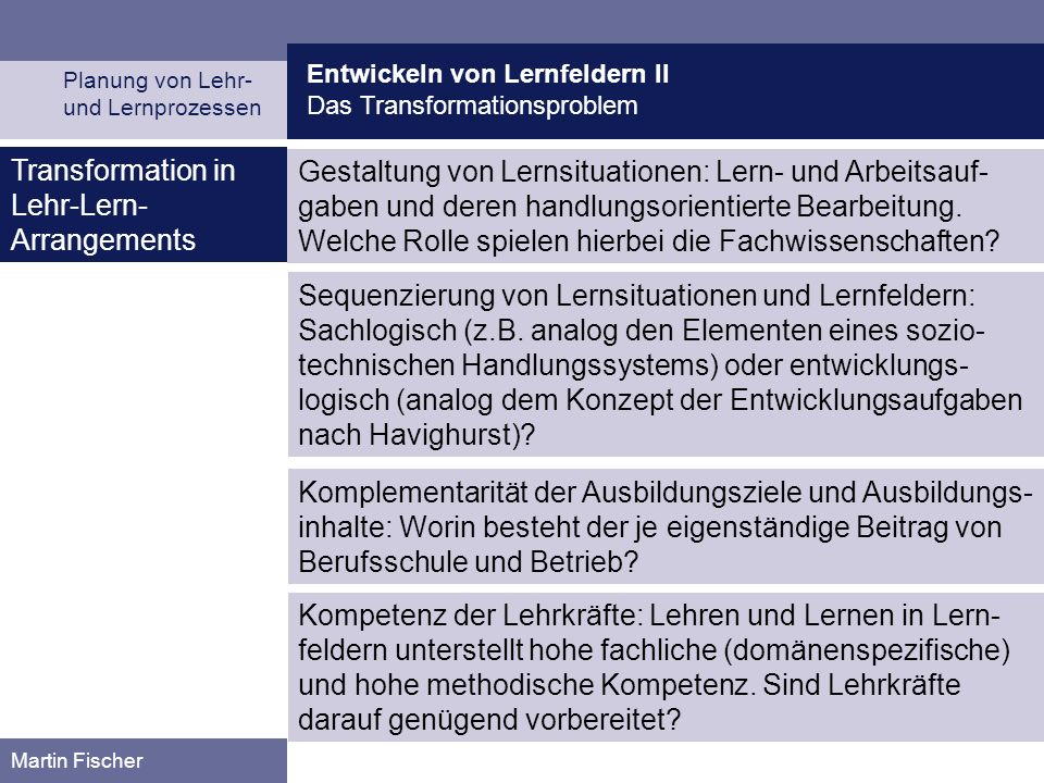 Transformation in Lehr-Lern-Arrangements