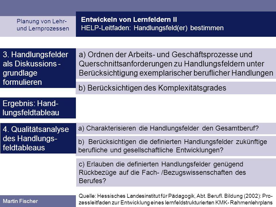 3. Handlungsfelder als Diskussions -grundlage formulieren