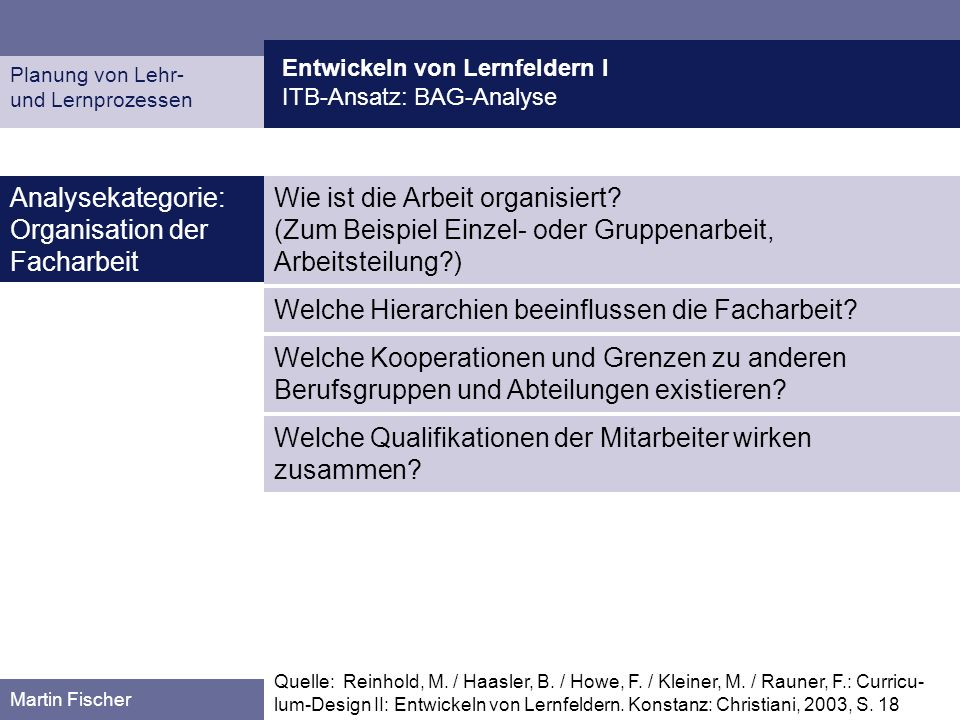Analysekategorie: Organisation der Facharbeit