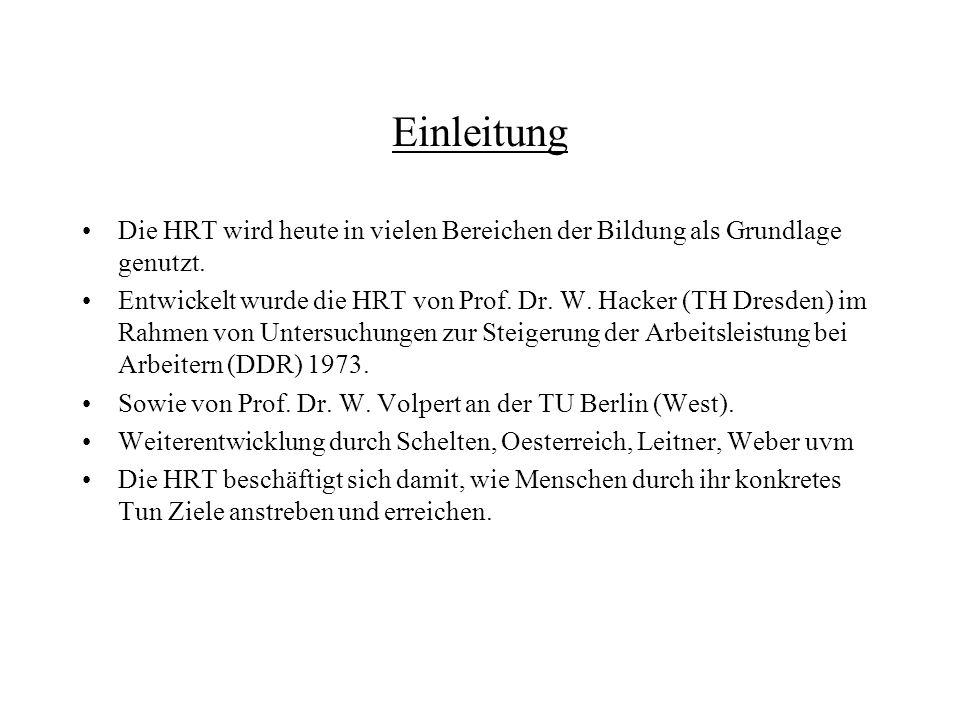 Einleitung Die HRT wird heute in vielen Bereichen der Bildung als Grundlage genutzt.