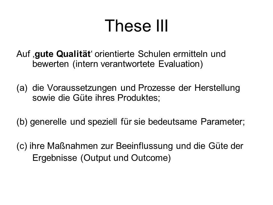 These III Auf 'gute Qualität' orientierte Schulen ermitteln und bewerten (intern verantwortete Evaluation)
