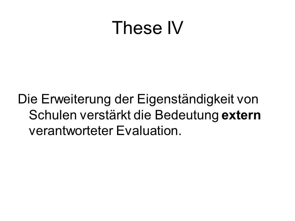 These IV Die Erweiterung der Eigenständigkeit von Schulen verstärkt die Bedeutung extern verantworteter Evaluation.