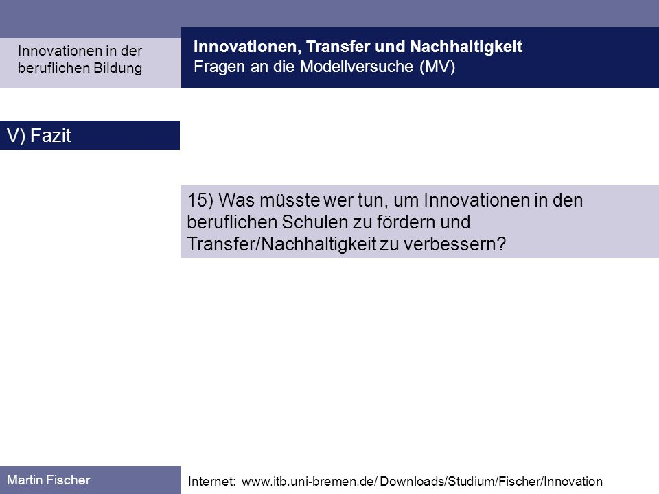 Innovationen, Transfer und Nachhaltigkeit