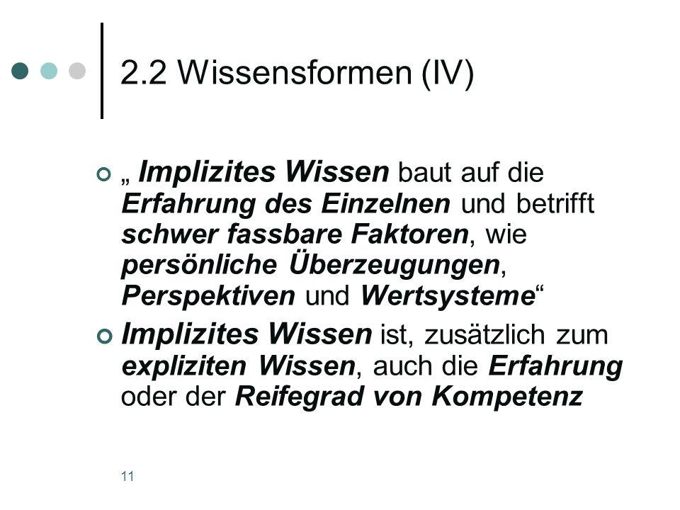 2.2 Wissensformen (IV)