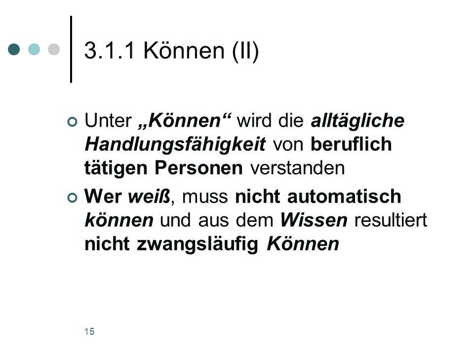 """3.1.1 Können (II) Unter """"Können wird die alltägliche Handlungsfähigkeit von beruflich tätigen Personen verstanden."""