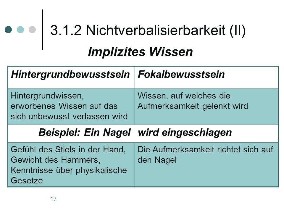 3.1.2 Nichtverbalisierbarkeit (II)