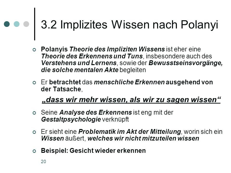3.2 Implizites Wissen nach Polanyi