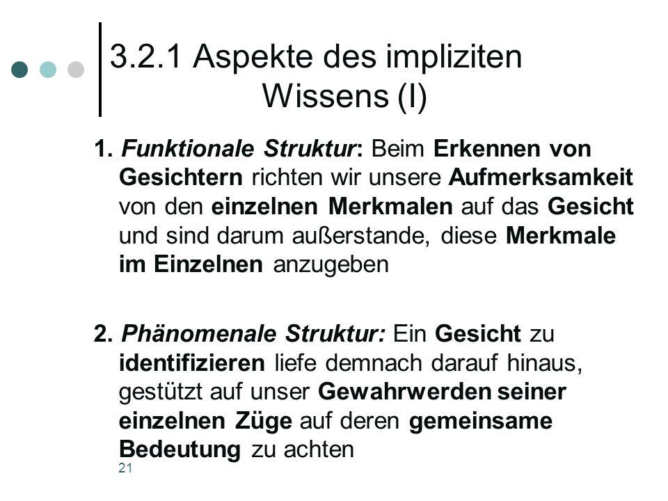 3.2.1 Aspekte des impliziten Wissens (I)