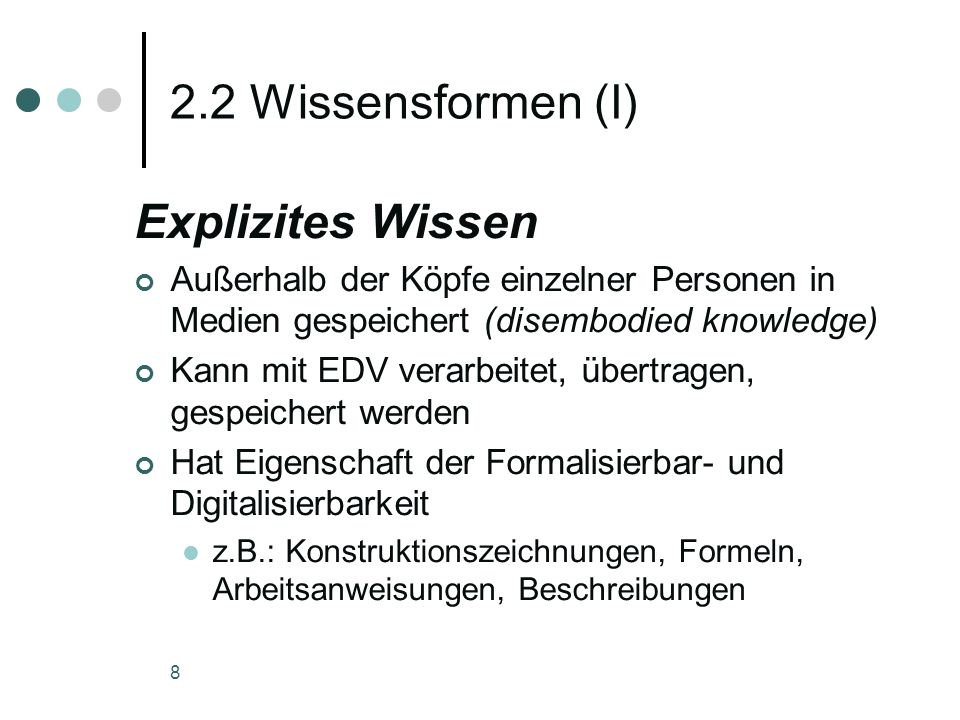 2.2 Wissensformen (I) Explizites Wissen