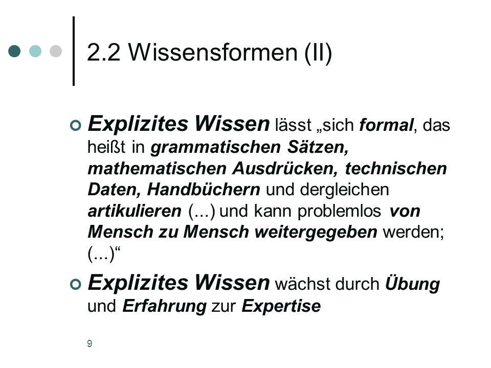 2.2 Wissensformen (II)
