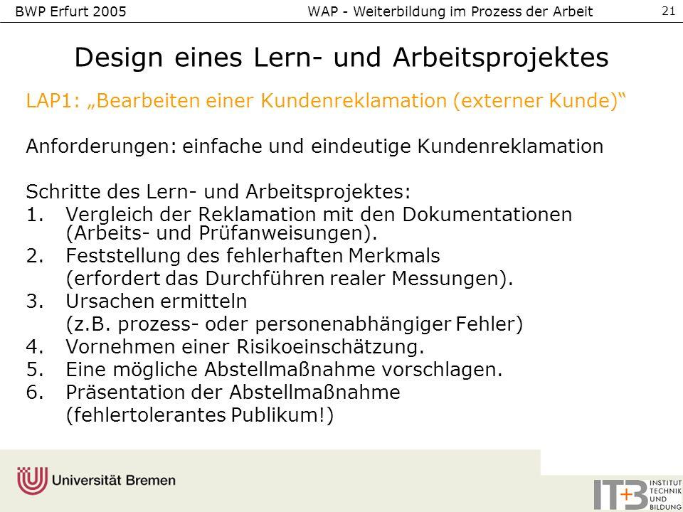 Design eines Lern- und Arbeitsprojektes