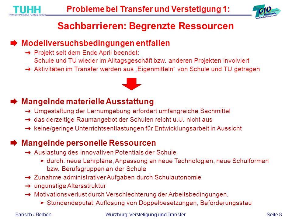 Probleme bei Transfer und Verstetigung 1: