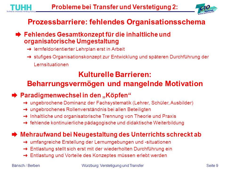 Probleme bei Transfer und Verstetigung 2: