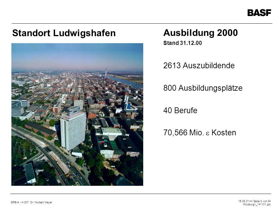 Standort Ludwigshafen Ausbildung 2000 Stand 31.12.00