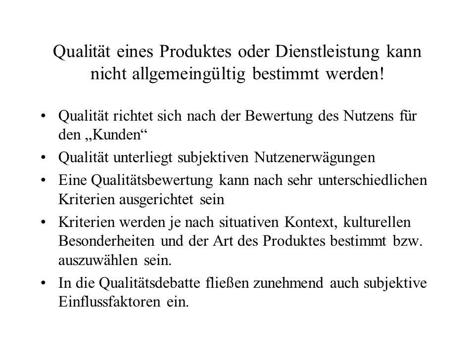 Qualität eines Produktes oder Dienstleistung kann nicht allgemeingültig bestimmt werden!