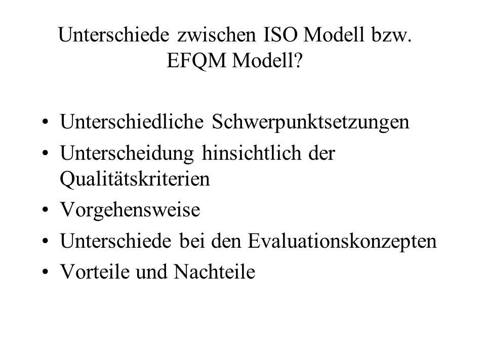 Unterschiede zwischen ISO Modell bzw. EFQM Modell