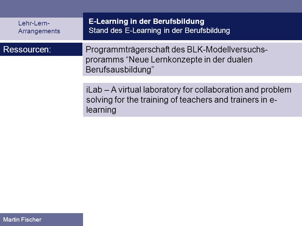 Medien und Lernumgebung beim E-Learning