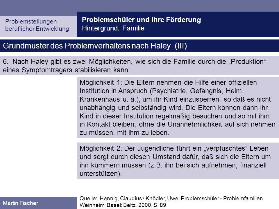 Grundmuster des Problemverhaltens nach Haley (III)