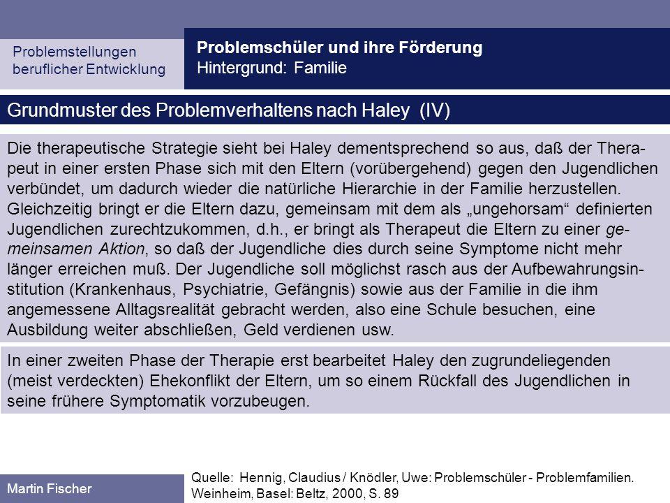 Grundmuster des Problemverhaltens nach Haley (IV)