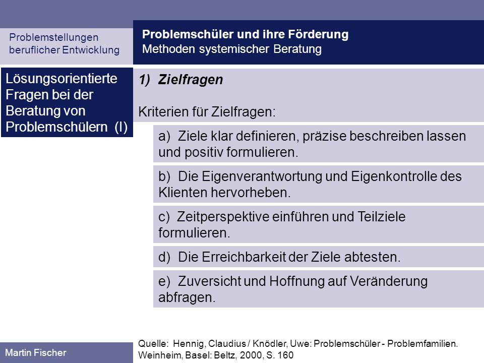 Lösungsorientierte Fragen bei der Beratung von Problemschülern (I)