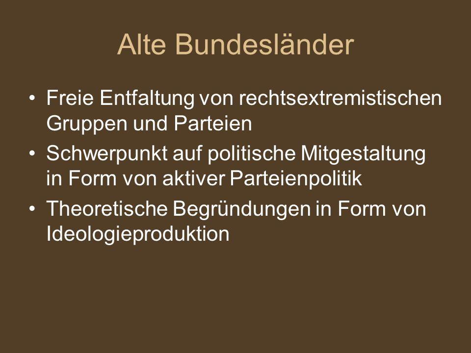 Alte Bundesländer Freie Entfaltung von rechtsextremistischen Gruppen und Parteien.