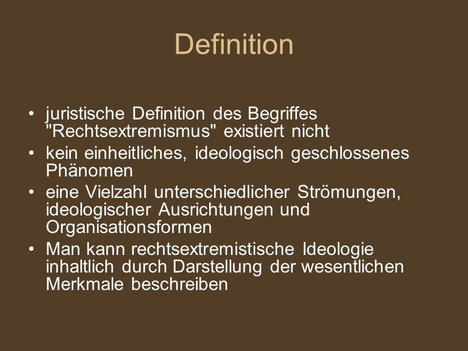Definition juristische Definition des Begriffes Rechtsextremismus existiert nicht. kein einheitliches, ideologisch geschlossenes Phänomen.