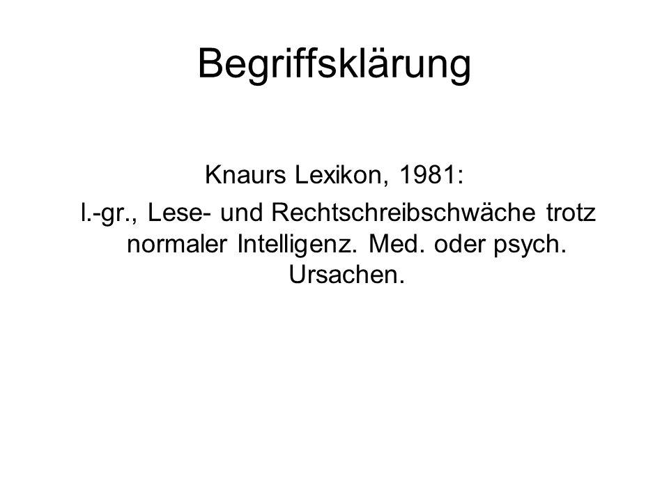 Begriffsklärung Knaurs Lexikon, 1981: