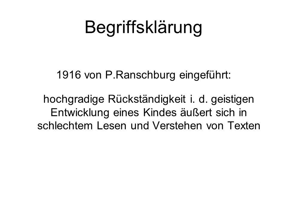 1916 von P.Ranschburg eingeführt: