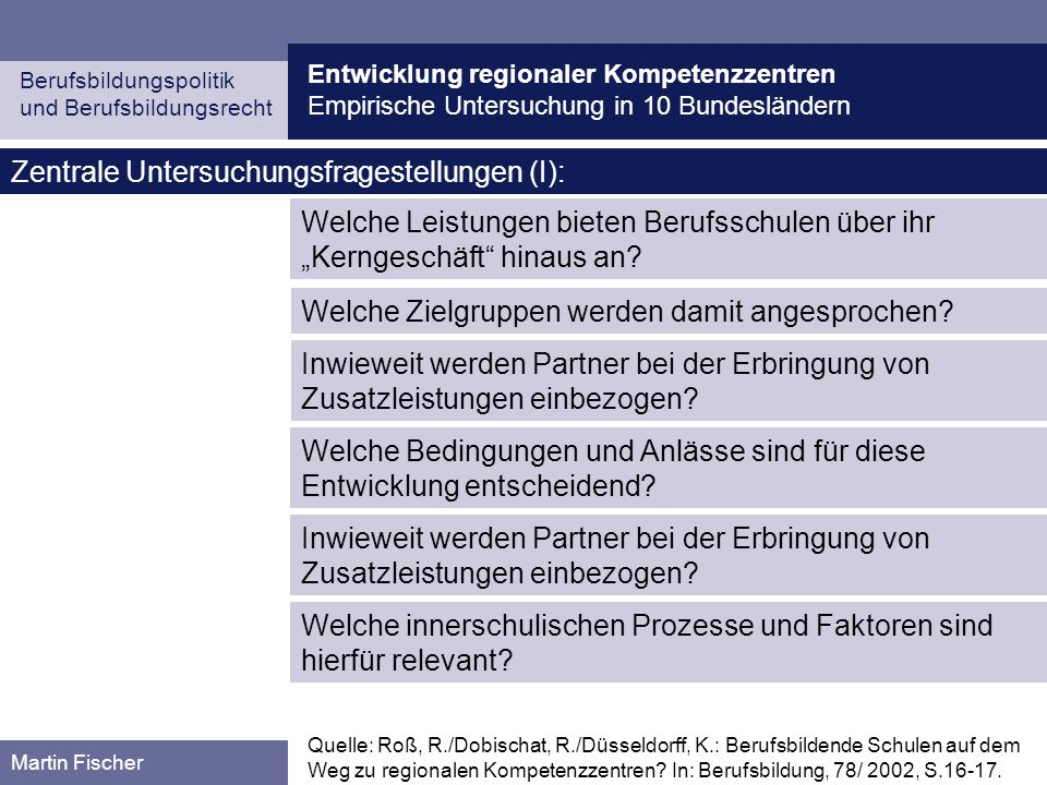 Zentrale Untersuchungsfragestellungen (I):