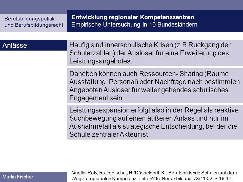 Entwicklung regionaler Kompetenzzentren