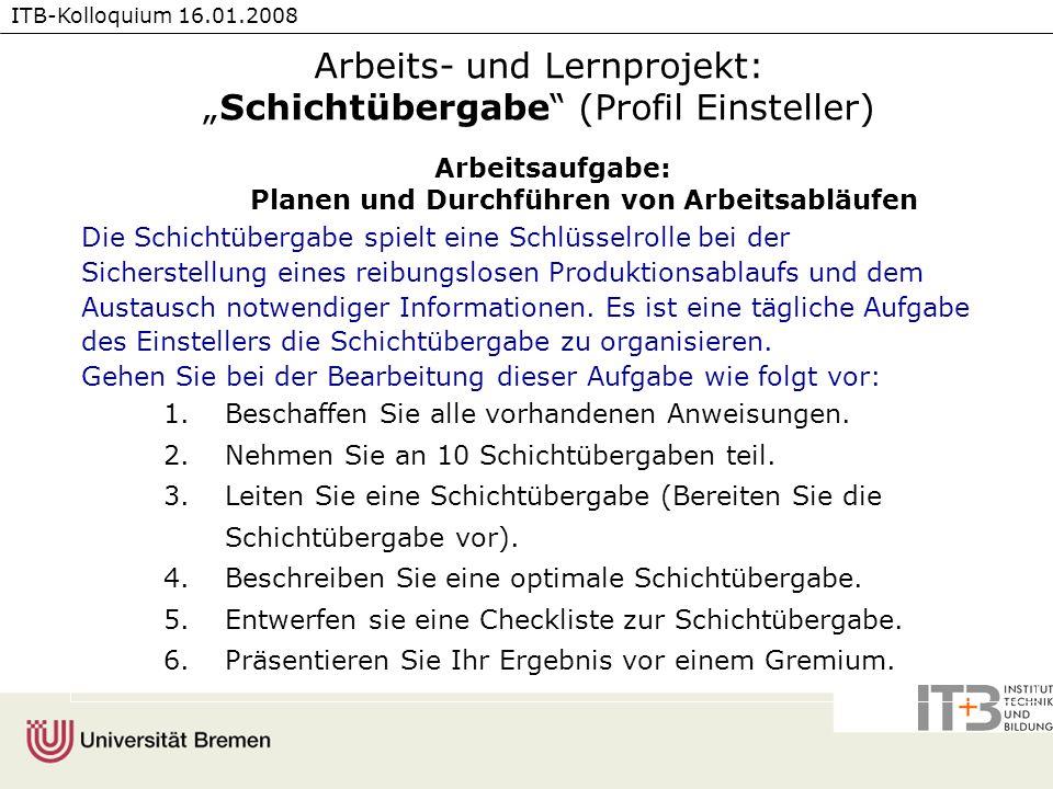 """Arbeits- und Lernprojekt: """"Schichtübergabe (Profil Einsteller)"""
