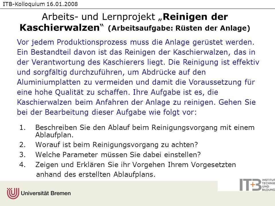 """Arbeits- und Lernprojekt """"Reinigen der Kaschierwalzen (Arbeitsaufgabe: Rüsten der Anlage)"""