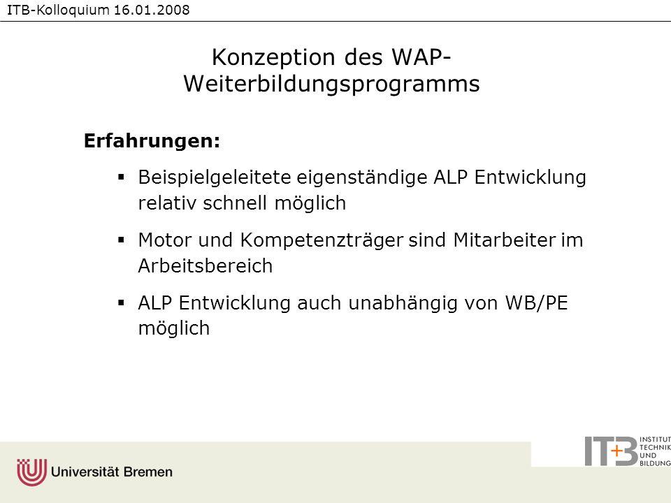 Konzeption des WAP- Weiterbildungsprogramms