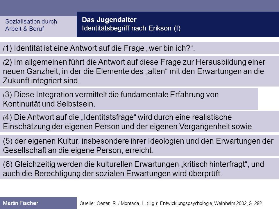 Das Jugendalter Identitätsbegriff nach Erikson (I) Sozialisation durch. Arbeit & Beruf.