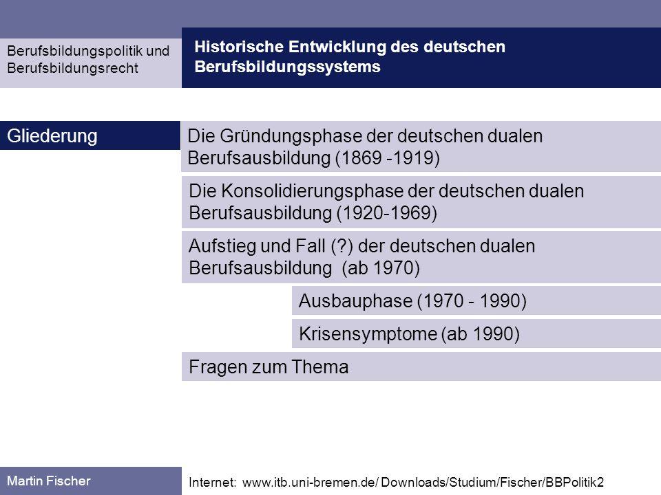 Die Gründungsphase der deutschen dualen Berufsausbildung (1869 -1919)