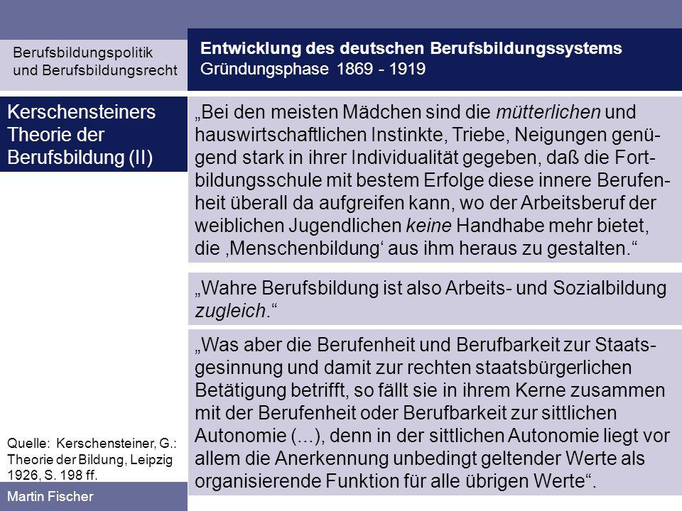 Kerschensteiners Theorie der Berufsbildung (II)